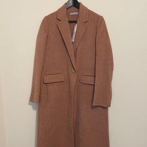 Vince rose long brushed wool coat xs new